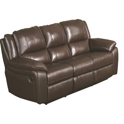 Hickox Leather Reclining Sofa Upholstery: Brown