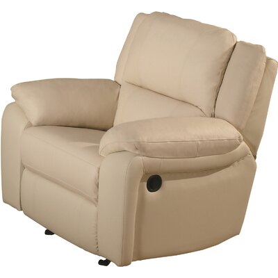 Orchard Lane Leather Recliner Upholstery: Ivory