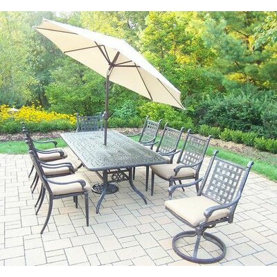 Vandyne 9 Piece Dining Set with Cushions Umbrella Color: Beige