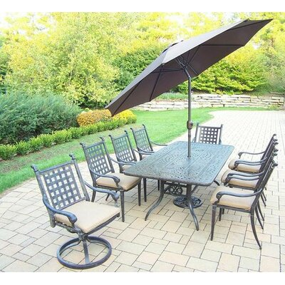 Vandyne 9 Piece Dining Set with Cushions Umbrella Color: Brown