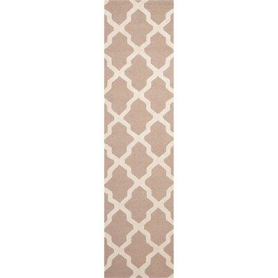 Kirschbaum Hand-Woven BeigeIvory Area Rug Rug Size: Runner 26 x 18
