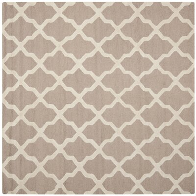 Kirschbaum Hand-Woven Wool Dark Beige/Ivory Area Rug Rug Size: Square 8, Finish: Beige