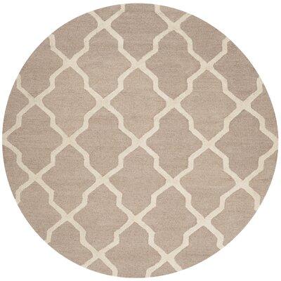Kirschbaum Hand-Woven Wool Dark Beige/Ivory Area Rug Rug Size: Round 8, Finish: Beige