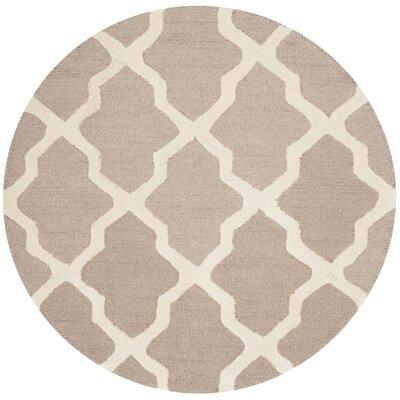 Kirschbaum Hand-Woven Wool Dark Beige/Ivory Area Rug Rug Size: Round 4, Finish: Beige