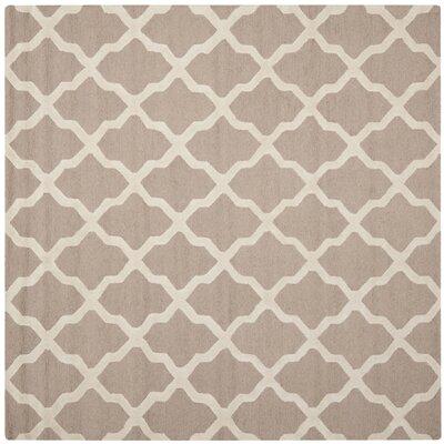 Kirschbaum Hand-Woven Wool Dark Beige/Ivory Area Rug Rug Size: Square 6, Finish: Beige