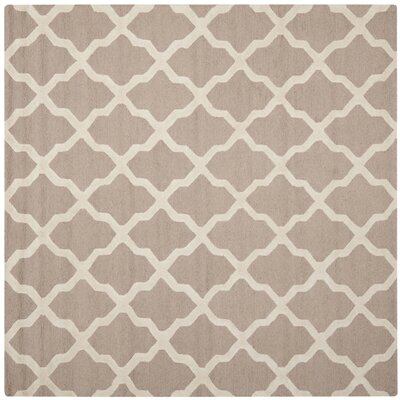 Kirschbaum Hand-Woven BeigeIvory Area Rug Rug Size: Square 6