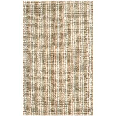 Bergeson Hand-Woven Sage/Natural Area Rug Rug Size: Rectangle 26 x 4