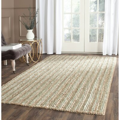 Bergeson Hand-Woven Sage/Natural Area Rug Rug Size: 6 x 9