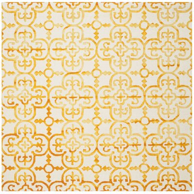 Naples Park Hand-Tufted Yellow Area Rug Rug Size: Square 7