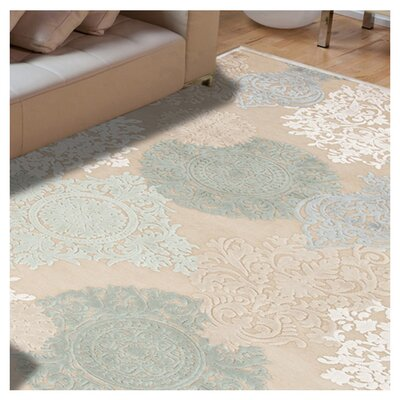Cream/Blue Floral Area Rug Rug Size: Square 6 x 6