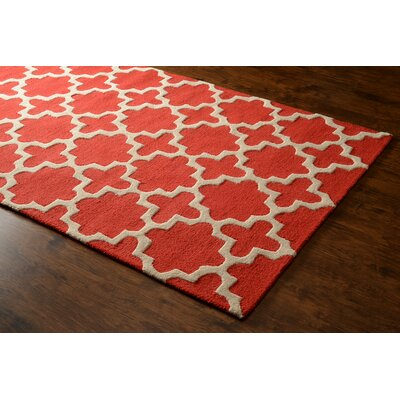 Gainer Hand-Woven Red Area Rug Rug Size: 76 x 96