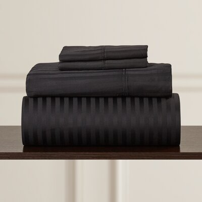 Nordberg 300 Thread Count Egyptian-Quality Cotton Stripe Olympic Queen Sheet Set Color: Black