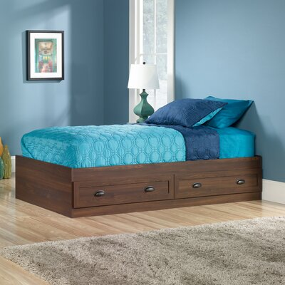 Rossford Twin Platform Bed with Storage Finish: Rum Walnut
