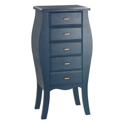 Fuquay Bowed Shagreen 5 Drawer Lingerie Chest Finish: Navy