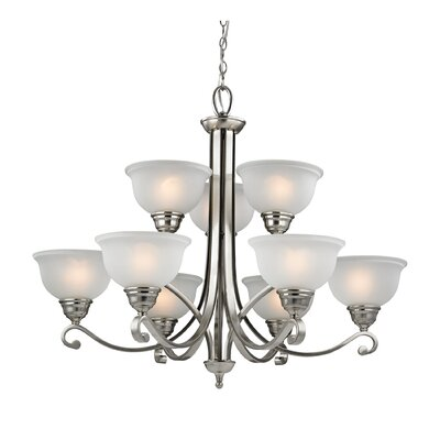 Halvorsen 9-Light Shaded Chandelier Finish: Brushed Nickel