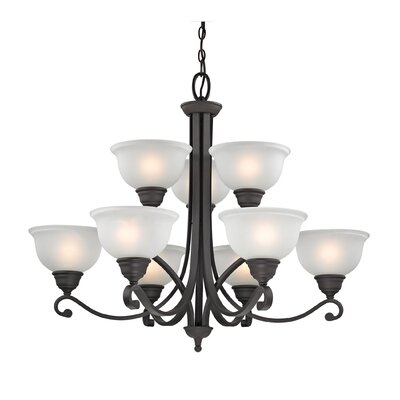 Halvorsen 9-Light Shaded Chandelier Finish: Oil Rubbed Bronze