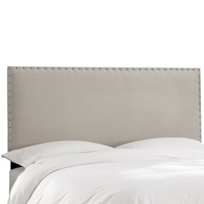 Aldan Upholstered Panel Headboard Size: Full, Upholstery: Velvet Light Grey