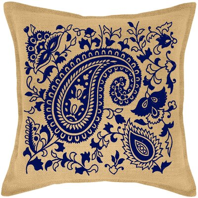 Paisley Burlap Throw Pillow Color: Navy