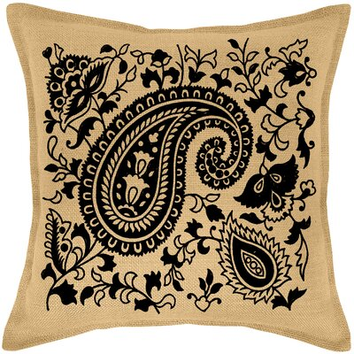 Paisley Burlap Throw Pillow Color: Black