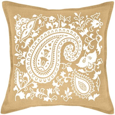 Paisley Burlap Throw Pillow Color: White