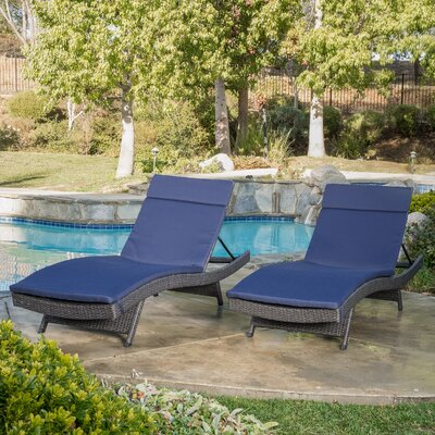 Peyton Adjustable Wicker Chaise Lounge with Cushion Color: Navy