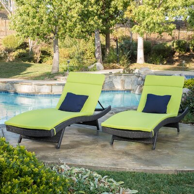 Peyton Adjustable Wicker Chaise Lounge with Cushion Color: Lime Green