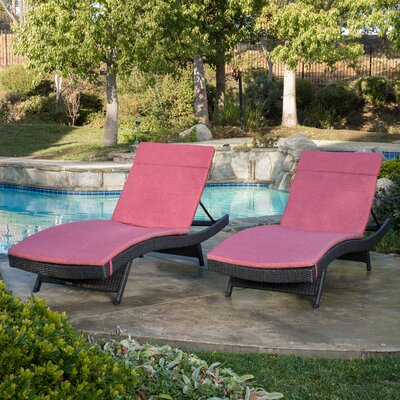 Peyton Adjustable Wicker Chaise Lounge with Cushion Color: Red