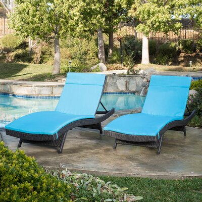 Peyton Adjustable Wicker Chaise Lounge with Cushion Color: Blue