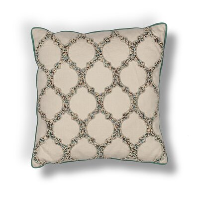Forsyth Teal-Trefoil Cotton Beading Throw Pillow