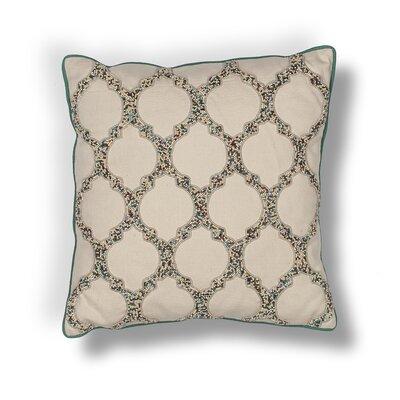 Forsyth Teal-Trefoil Cotton Beading Throw Pillow