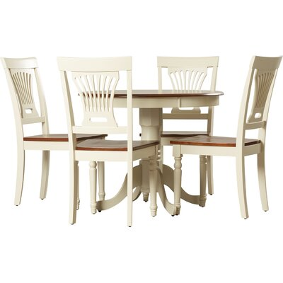 Wyatt 5 Piece Dining Set Chair Upholstery: Wood Seat