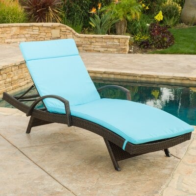 Luther Chaise Lounge with Cushion Color: Blue