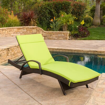 Luther Chaise Lounge with Cushion Color: Green