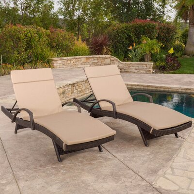 Luther Chaise Lounge with Cushion Color: Carmel