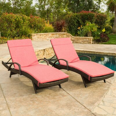 Luther Chaise Lounge with Cushion Color: Red