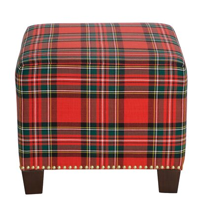 Afton Nail Button Ottoman Upholstery Color: Ancient Stewart Red