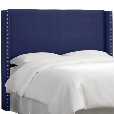 Alderley Upholstered Wingback Headboard Size: Full, Upholstery: Navy