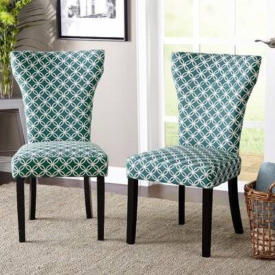 Lovington Side Chair Upholstery color: Teal with Print