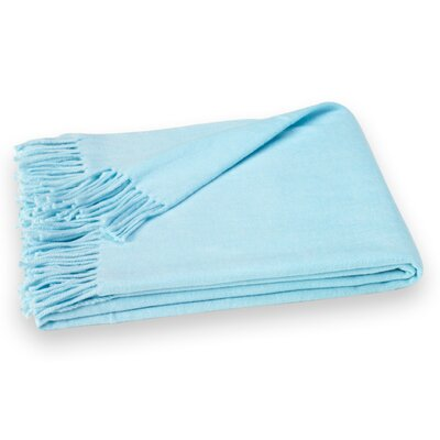 Layman Cotton and Soft Acrylic Solid Throw Color: Skylight Blue