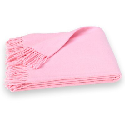 Layman Cotton and Soft Acrylic Solid Throw Color: Pink Sorbet