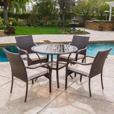 Darden 5 Piece Dining Set with Cushions Finish: Brown