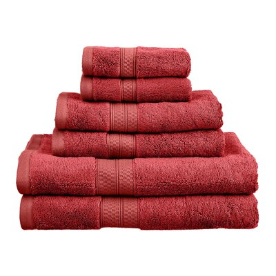 Superior 6 Piece Towel Set Color: Crimson