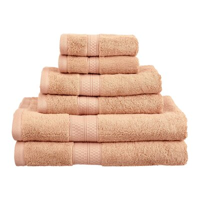 Superior 6 Piece Towel Set Color: Salmon