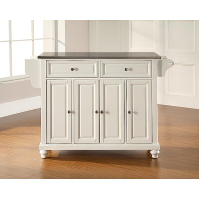 Goreville Kitchen Island with Stainless Steel Top Base Finish: White, Top Finish: Stainless Steel