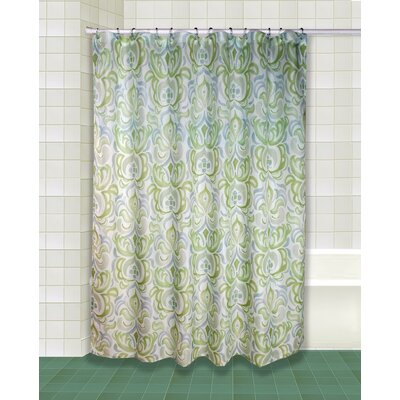 Lazzaro Polyester Shower Curtain Set Color: Green/Blue/Gray