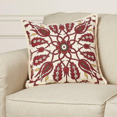 Chafin Linen Throw Pillow Size: 18 H x 18 W x 4 D, Color: Burgundy/Dark Brown/Bright Yellow/Black/Cream