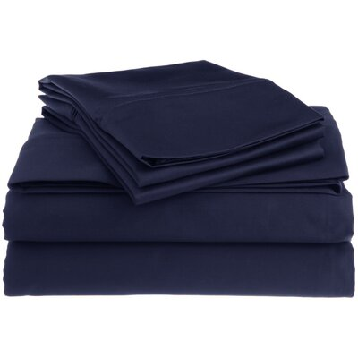 Superior 1200 Thread Count 100% Cotton Sheet Set Size: Full, Color: Navy Blue