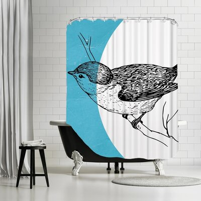 Ikonolexi Bird Shower Curtain Color: Blue