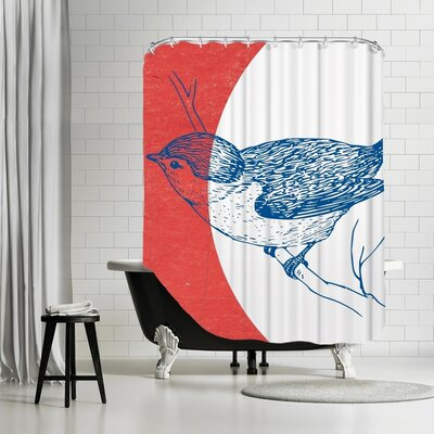 Ikonolexi Bird Shower Curtain Color: Red