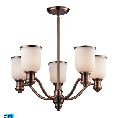Claflin 5-Light Shaded Chandelier Shade Color: Antique Copper